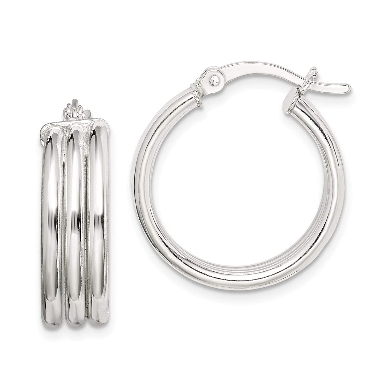 925 Sterling Silver Polished /& Grooved Hoop Earrings 6.5mm x 20mm
