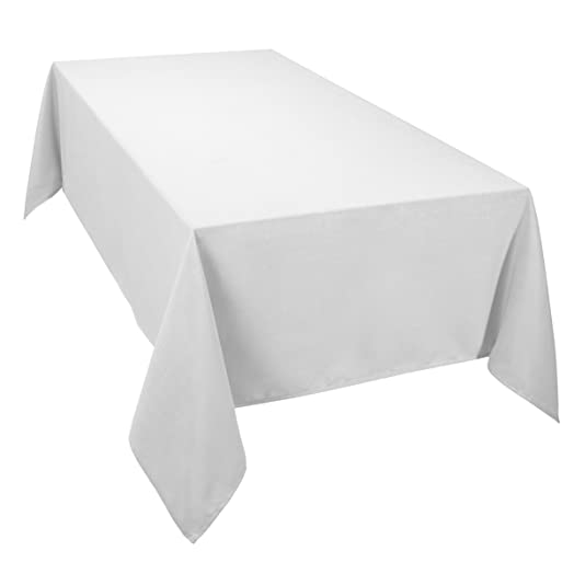 Casual Dining Essentials Oblong Tablecloth, White, 70 X 90 Inch