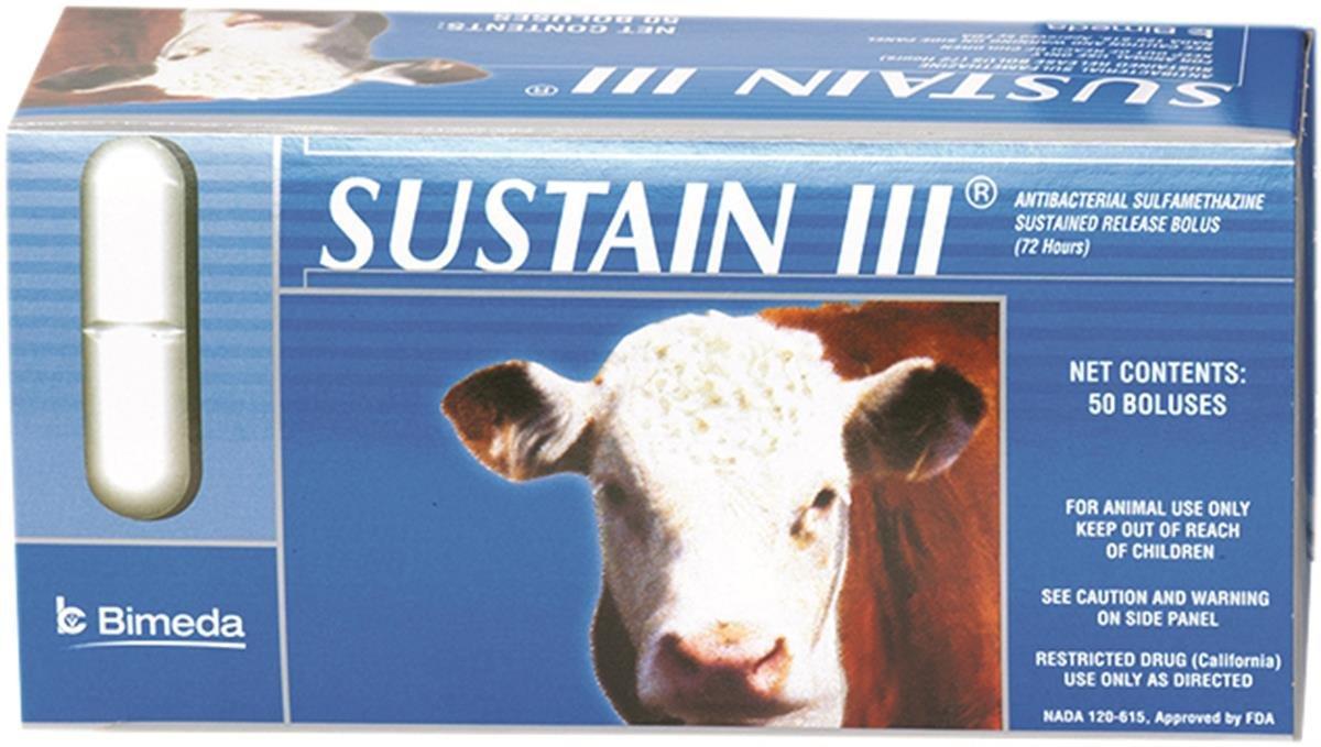 DURVET 058537 50 Count Sustain III Cattle Bolus