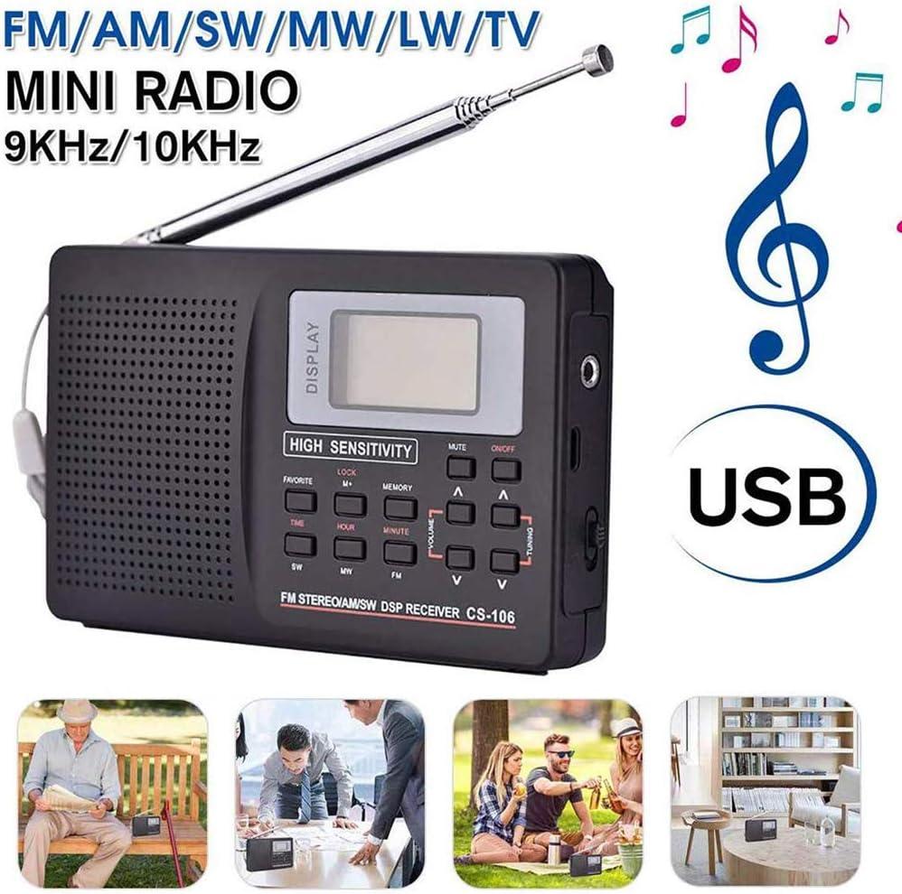Am FM -Mini Radio Portátil, Receptor De La Ayuda FM/Am/SW/LW/Televisor Full Frecuencia del Receptor Despertador para Ancianos Multifunción Mini Radio: Amazon.es: Deportes y aire libre