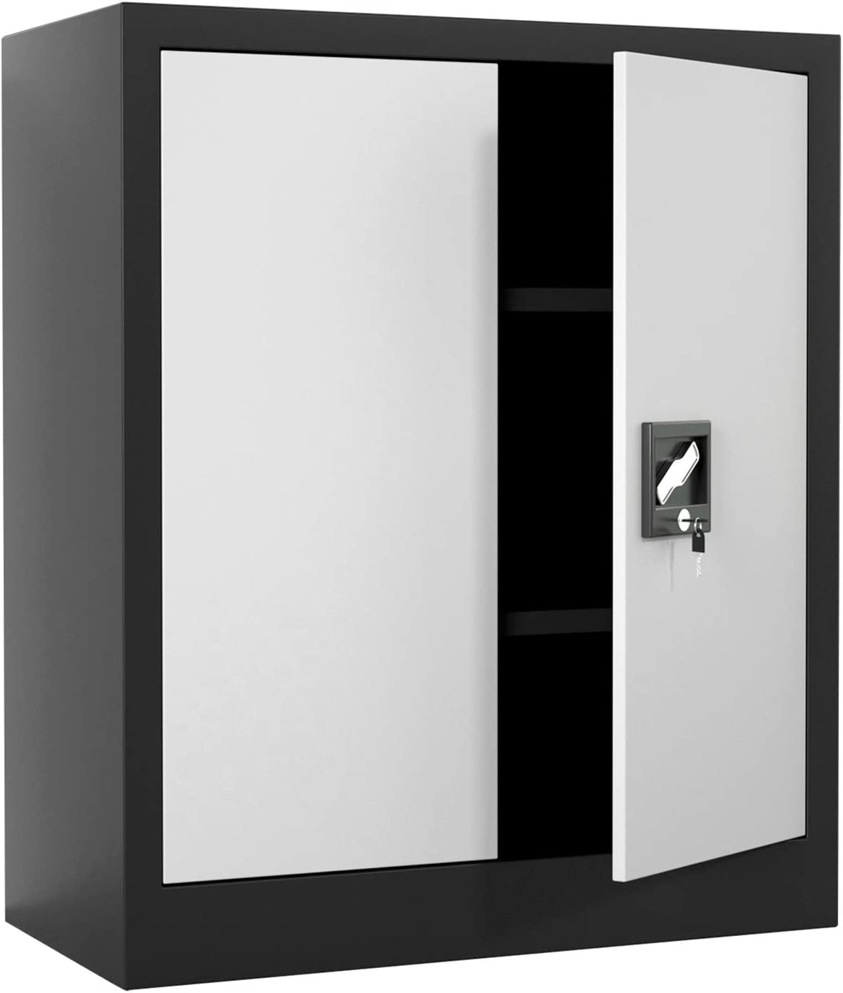 iJINGUR Metal Storage Cabinet with Locking Doors & 2 Height Adjustable Shelves for Office, Garage and Kitchen Pantry (Black & Gray)