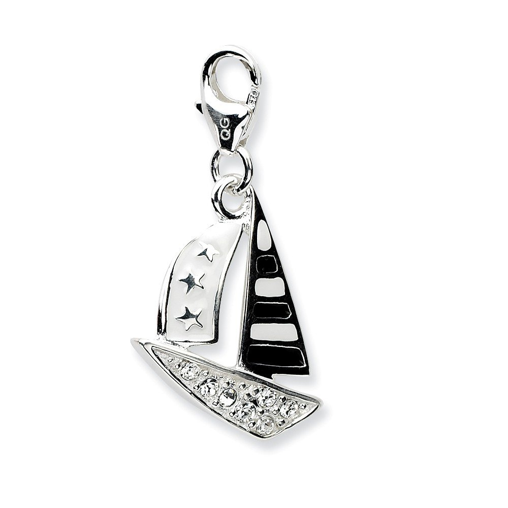 Jewelry Pilot Sterling Silver 3D Enameled Sailboat Charm w//Lobster Clasp