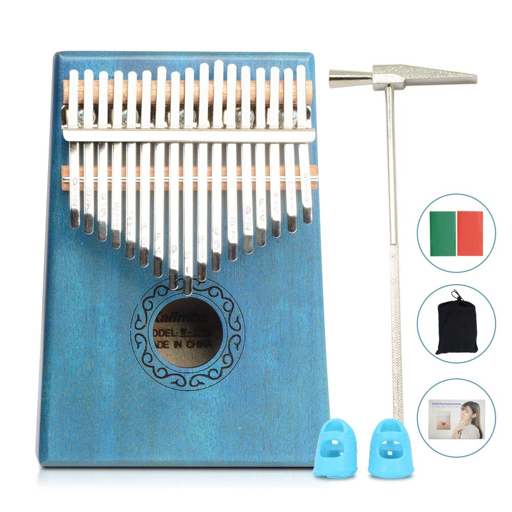Apelila 17 Key Kalimba Thumb Piano, Solid Mahogany Wood Body Finger Piano with Tune Hammer,Carry Bag,Pickup,Key Stickers(Blue)