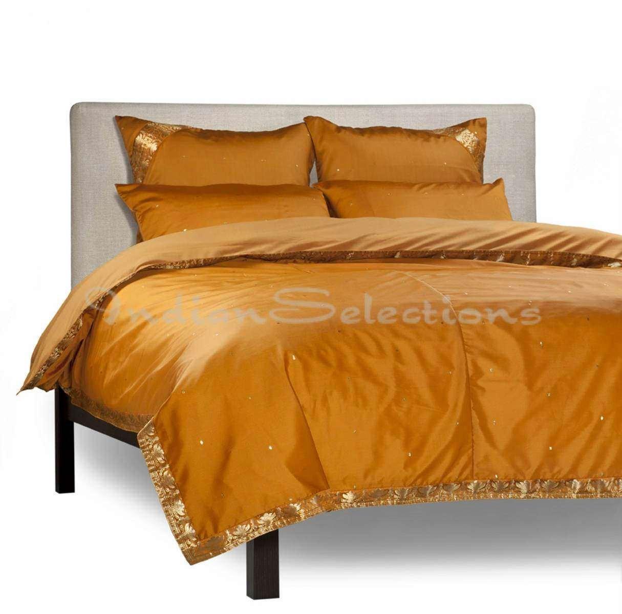 Mustard - 5 Piece Handmade Sari Duvet Cover Set with Pillow Covers / Euro Sham - Twin