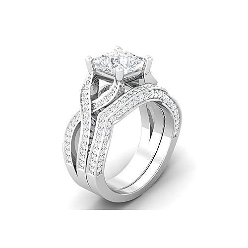 Mejor compromiso anillos de boda en 3,30 ct blanco circonitas cúbicas corte princesa de