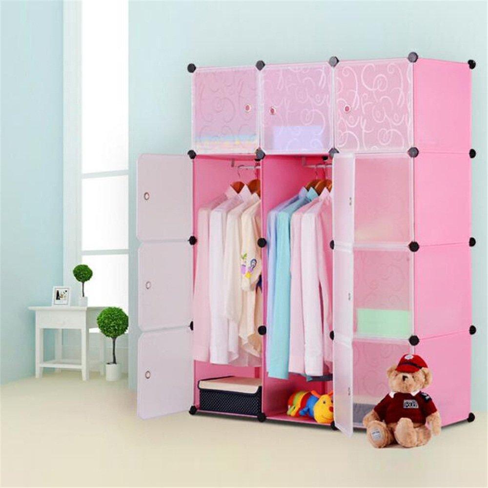 HENGMEI DIY Kleiderschrank Garderobenschrank Steckregalsystem Regalsystem 12 Blau Kubus Ordnungssystem Schuhschrank Kleiderschrank mit T/ür