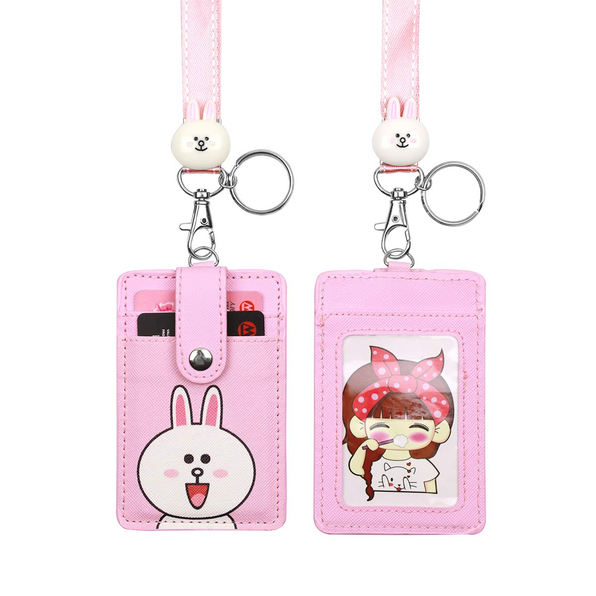 Cute Neck Pouch Card Case ID Badge Holder Cartoon Lanyard Keychain for Teens
