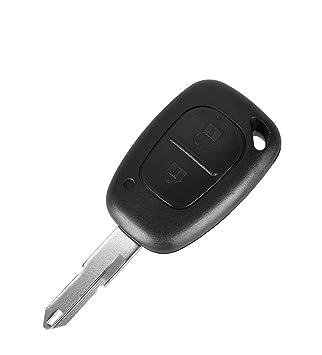 PHONILLICO Carcasa CLE Renault Kangoo Master Trafic – Jongo Llave Mando a Distancia 2 Botones Hoja Agujero Modelo con Tarjetero Pila