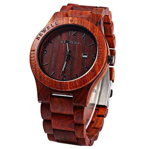 Leopardo tienda Bewell ZS - w086b Hombres Reloj Madera Fecha Analógico de Cuarzo pantalla rojo sandalia: Amazon.es: Relojes