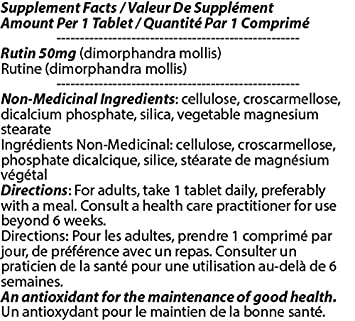 Rutin 50mg 90 Tablets 12 Bottles by Total Natural, Anti-inflammatory, Help Absorb and Utilize Vitamin C, Improved Vascular Health, Vision Care