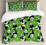 Family Decor Soccer Queen Duvet Cover Sets 4 Piece Bedding Set Bedspread with 2 Pillow Sham, Flat Sheet for Adult/Kids/Teens, Funny Panda Animals Playing with Balls Hand Drawn Style Hearts and Stars