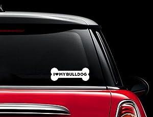 CCI I Love My Bulldog Dog Bone Decal Vinyl Sticker Cars Trucks Vans Walls Laptop  White  7.5 x 3 in CCI682