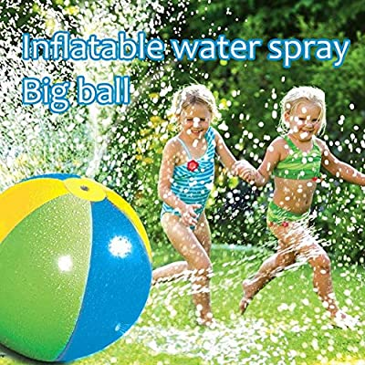 Novobey Splash & Spray Ball, Inflatable Sprinkler Water Spray Ball with 4 Water Spouts Outdoor Fun Toy Swimming Pool Beach Use, Diameter 30 Inches: Toys & Games