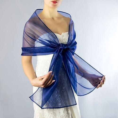 Chal organza color azul novia boda novia para vestido de fiesta