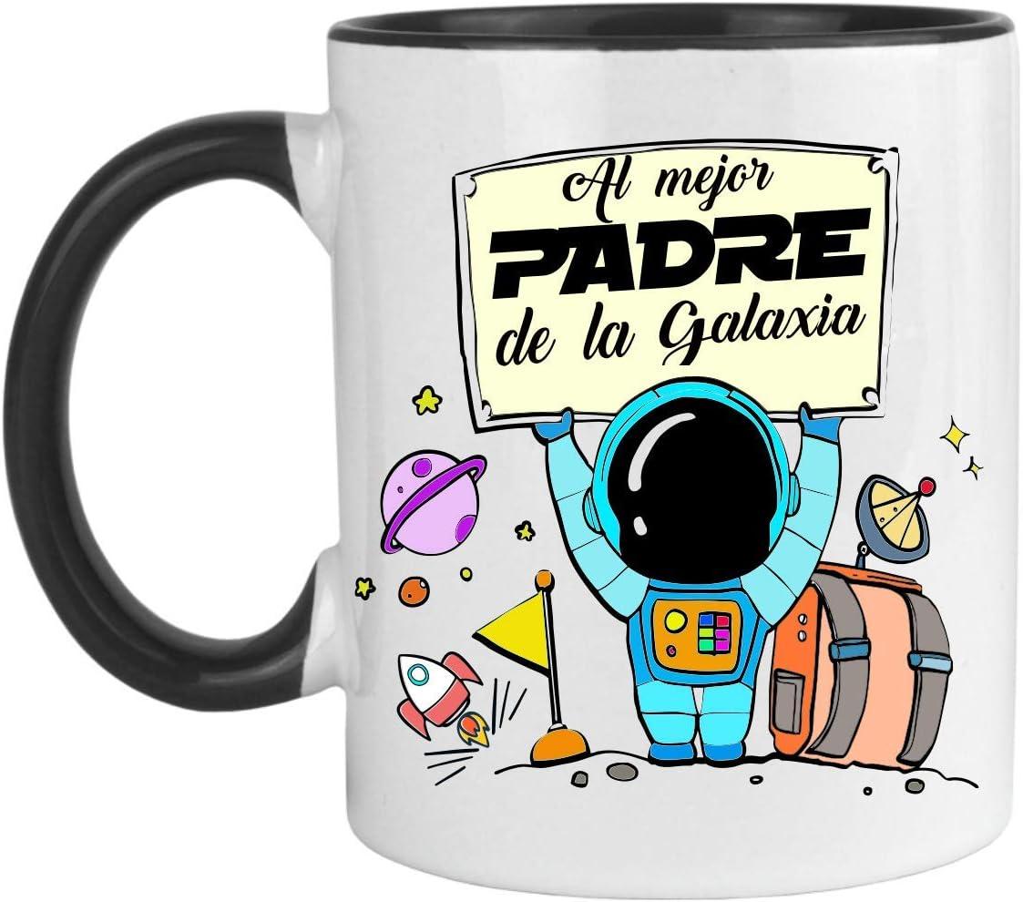 FUNNY CUP Taza Día del Padre. Al Mejor Padre de la Galaxia. Regalo Divertido para papás. Ideal Mensaje Padre. Taza de Color (Negro)