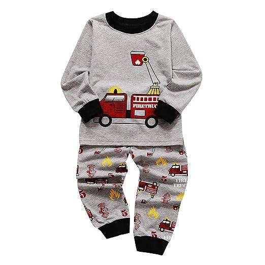 33cfd24fa9ef Amazon.com  1-6T Kids Baby Pajamas Pjs Firetruck Sleepwear Boys ...