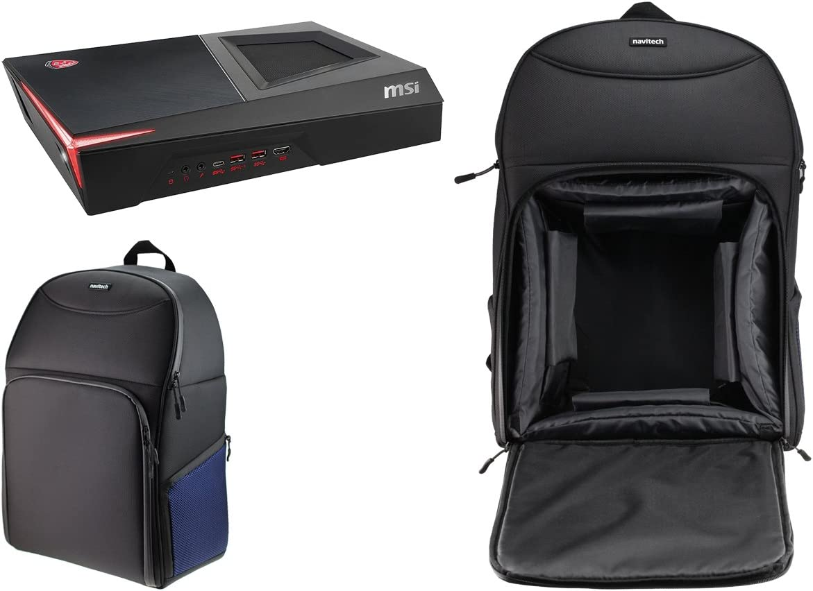 Navitech Portable Rugged Black /& Blue Backpack//Rucksack Carry Case Compatible with The MSI Trident 3 VR7RC-099UK Desktop PC