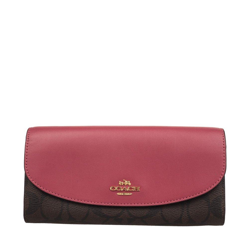 Coach Women's PVC wallet F54022 White khaki (Dark brown with red)