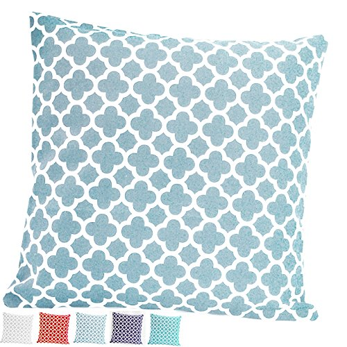 Light Blue Accent (TAOSON Light Blue Moroccan Quatrefoil Accent Pattern Cushion Cover Pillow Cover Pillowcase Cotton Canvas Pillow Sofa Throw White Printed with Hidden Zipper Closure Only Cover 18x18 Inch 45x45cm)