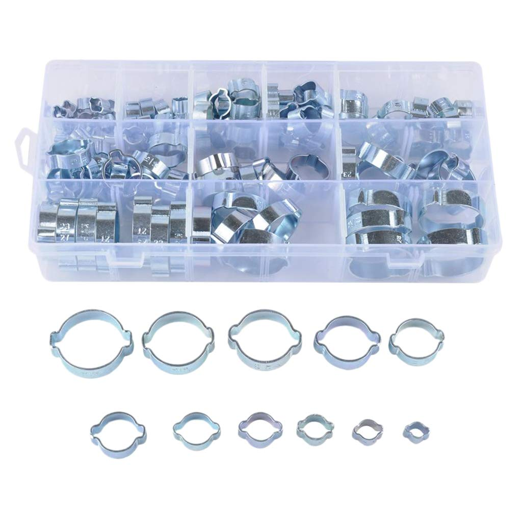 Stainless Steel Wire Tube Pipe Fuel Line Clip Assortment kit 128PCS 5-31 mm Double Ear Stepless Hose Clamps