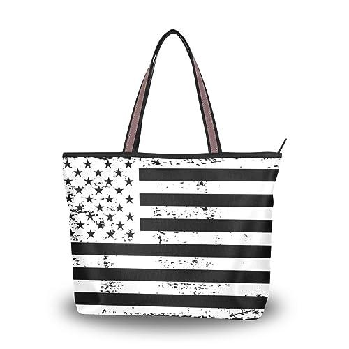 ALAZA Spalla Borsa della Bandiera Americana Nero Borsetta ...