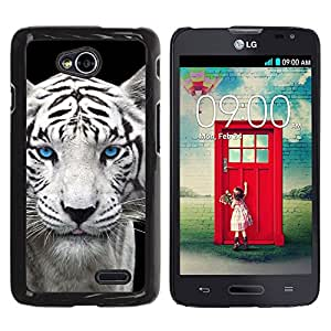 Qstar Arte & diseño plástico duro Fundas Cover Cubre Hard Case Cover para LG Optimus L70 / LS620 / D325 / MS323 ( Snow Leopard Tiger Puppy Cute Cub Blue Eyes)