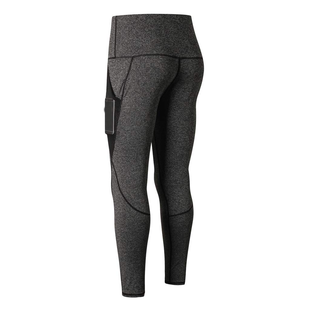 NUWFOR Women's Fashion Workout Leggings Fitness Sports Running Yoga Athletic Pants(Dark Gray,XS US Waist:25.2'')