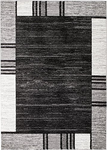 Rio CV-E3LP-51CE Summit 309 Grey Black White Area Rug Modern Abstract Many Sizes Available  , 2' x 7' hall way runner