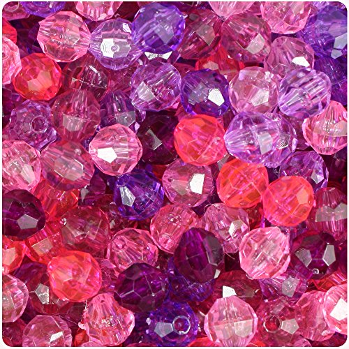 BEADTIN Pink & Purple Transparent 8mm Faceted Round Craft Beads (450pc)