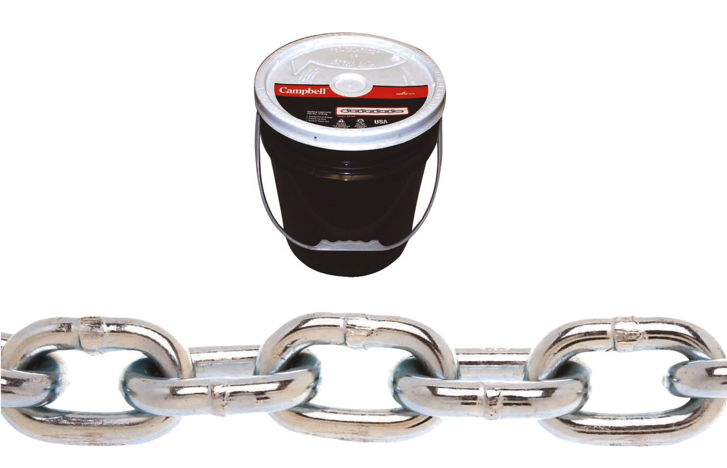 Campbell 0140823 System 3 Grade 30 Low Carbon Steel Proof Coil Chain in Round Pail, Zinc Plated, 1/2'' Trade, 0.48'' Diameter, 40' Length, 4500 lbs Load Capacity