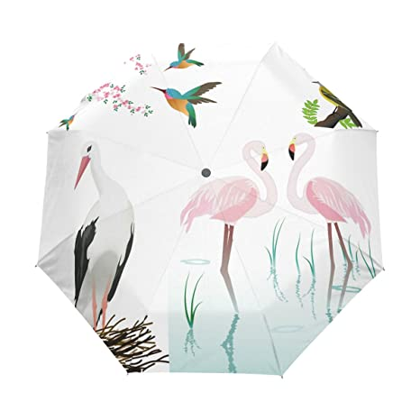COOSUN Aves Flamencos Y Flores automáticas 3 plegable del paraguas del parasol Color # 001