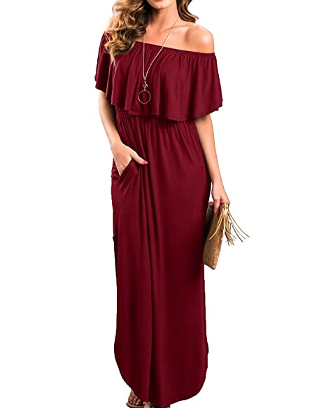 f5e7fcb4ffbe Uniboutique Womens Amazon Summer Beach Off Shoulder Plain Solid Tunic Maxi  Long Dress with Pockets Red Wine Small at Amazon Women s Clothing store