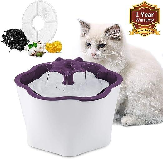 FItyou Bebedero Gatos, Fuente silencioso para Gatos 2L Bebedero Automático Fuente de Agua para Mascotas Gatos Perros 3 Modos Ajustable con 1 Filtros de Carbón Activado: Amazon.es: Hogar