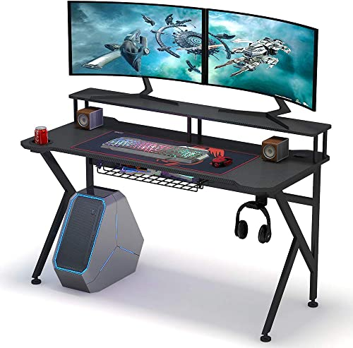 Tribesigns Gaming Desk with Monitor Riser, 55 inches Gamer Computer Desk PC Laptop Gaming Workstation with K Shaped Leg, Under-top Basket, Cup Holder Headphone Hook for Home Use
