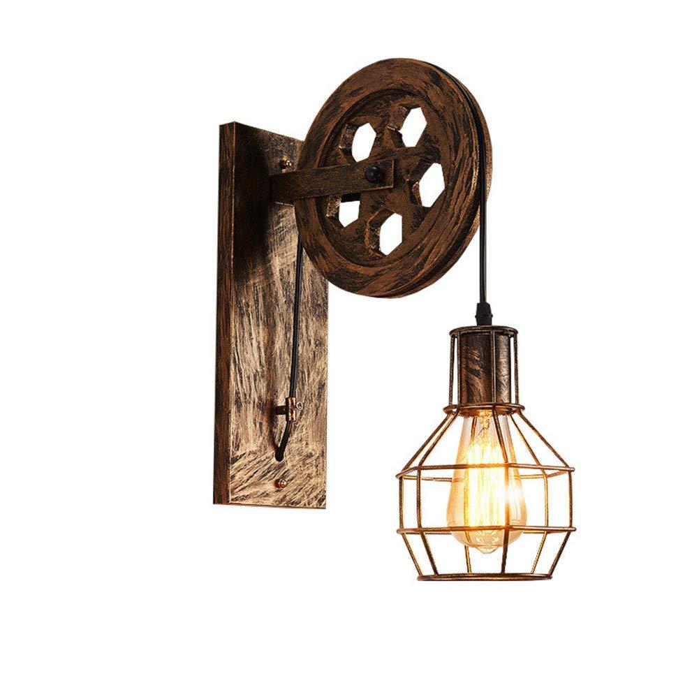 Industrielle Wandlampe Rad Wandleuchten Heben Wand Lamp Restaurant Wohnzimmer Bar Cafe Cage Nachttischlampe Vintage Eisen Leuchte (Bronze)