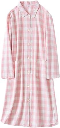 Zonsaoja Camisón De Mujer Blusa A Cuadros Vestido De Salón Clásico Algodón Ropa De Dormir Rosa One Size: Amazon.es: Ropa y accesorios