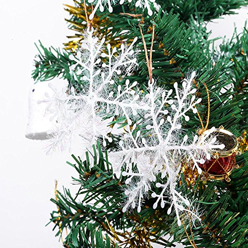 AGM 4.3'' Classic White Glitter Snowflake Christmas Tree Ornaments Holiday Decor, Set of 30 (white) (Ornaments Capiz Christmas)