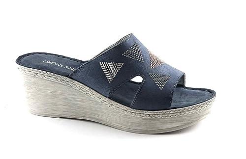 Grünland LELI CI2156 blue jeans zapatillas de cuña mujer de brillo 39 QqeeSbWhp