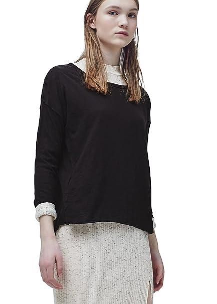 MANGO - Camiseta Larga de algodón Esencial - Talla S - Color: Negro