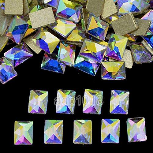 AD Beads Top Czech AB Crystal Multi-Shape Flatback Rhinestone Nail Art Decoration DIY (50 Pcs, 25. Cosmic 4x6mm) ()