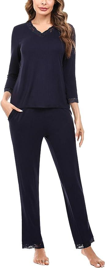 Irevial Pijamas para Mujer Invierno, Conjunto de Pijamas de algodón, cálidos Camiseta de Manga Larga y Pantalones Larga con Bolsillos Ropa de Dormir 2 Pieces: Amazon.es: Ropa y accesorios