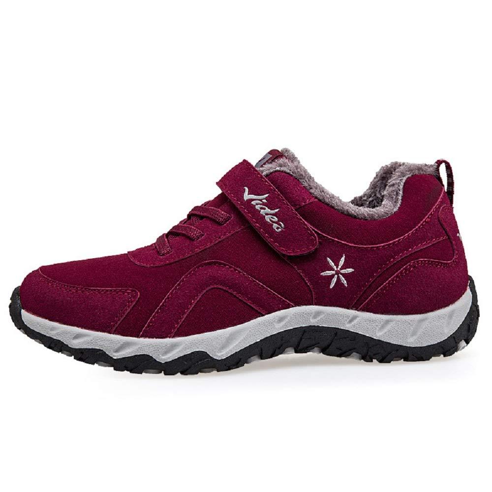 Gaslinyuan Frauen Hook Loop Stiefel Fell gefüttert Lace up Flache Schuhe (Farbe   Rot, Größe   EU 40)