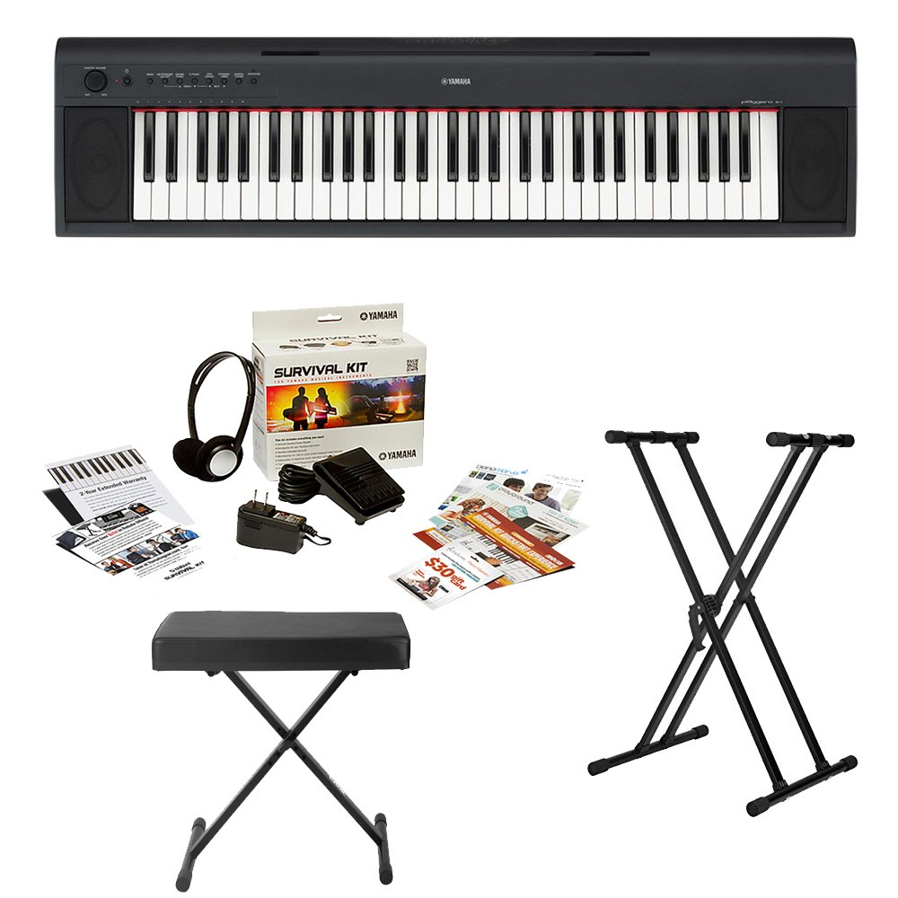 Yamaha NP-12 61-Key Ultra-Portable Digital Piano Keyboard Bundle with Knox Stand, Bench and Survival Kit(Includes Power Adapter and Extended 2 Year Warranty)