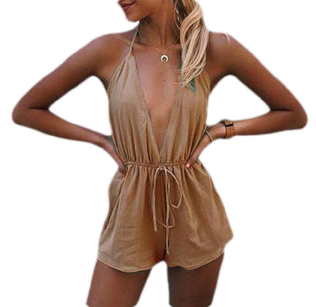 YIhujiuben Womens Summer Loose Halter Neck Shorts Elastic Waist Jumpsuits Shorts