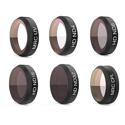 FOKOM PGYTECH 6PCS RC Quadcopter Accessoires Filtre en Kit ND Lens Filters pour DJI Mavic Air (ND4 + ND8 + ND16 + ND32 + UV + CPL )