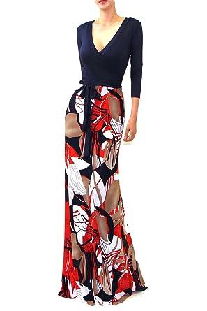 df88c287e26 Vivicastle Women s Printed V-Neck 3 4 Sleeve Faux Wrap Waist Tie Long Maxi