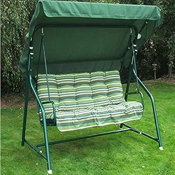 Milan 3 Seater Padded Swing Seat Hammock Green Stripe Amazon Co