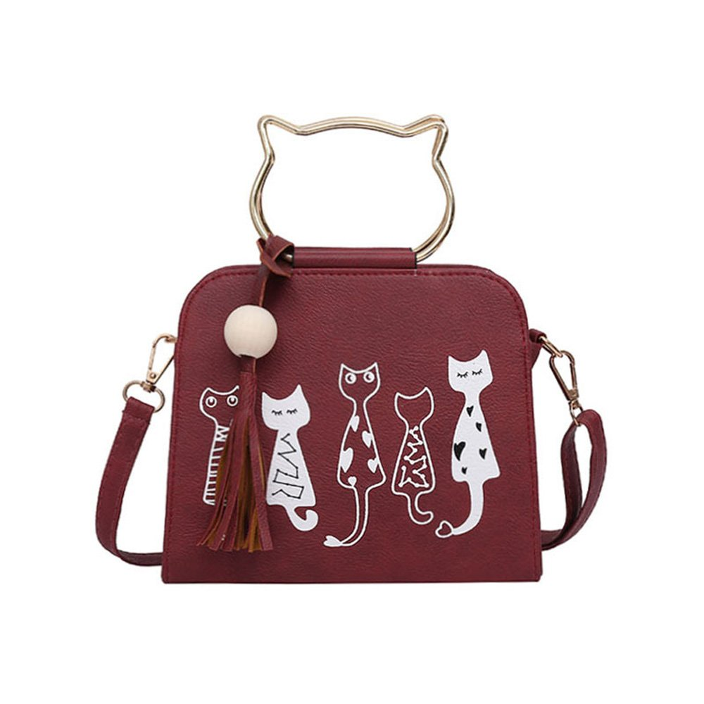 Bluegoog Cute Cat Cross Body Shoulder Bag PU Leather Fashion Women Shoulder Bag Handbag Multi-functional