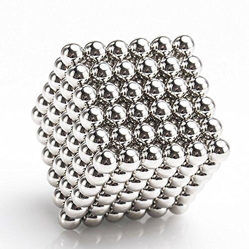 (Magnetic building block Sculpture Stress Relief for Desk fridge    Gift Box    Card Separator balls cube (sliver))