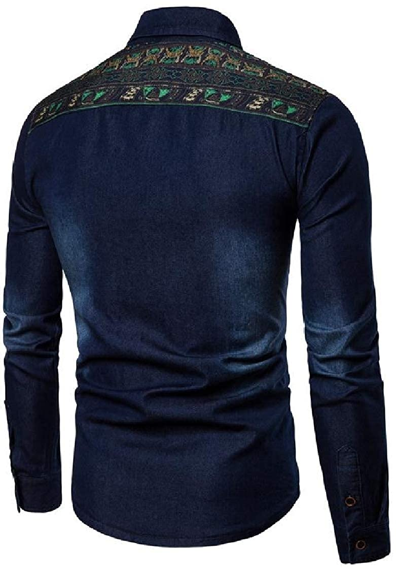 Pandapang Mens Casual Long Sleeve Washed Patchwork Button Front Denim Shirts